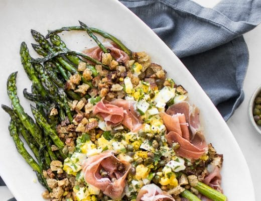 Polonaise Asparagus Salad with Prosciutto Capers
