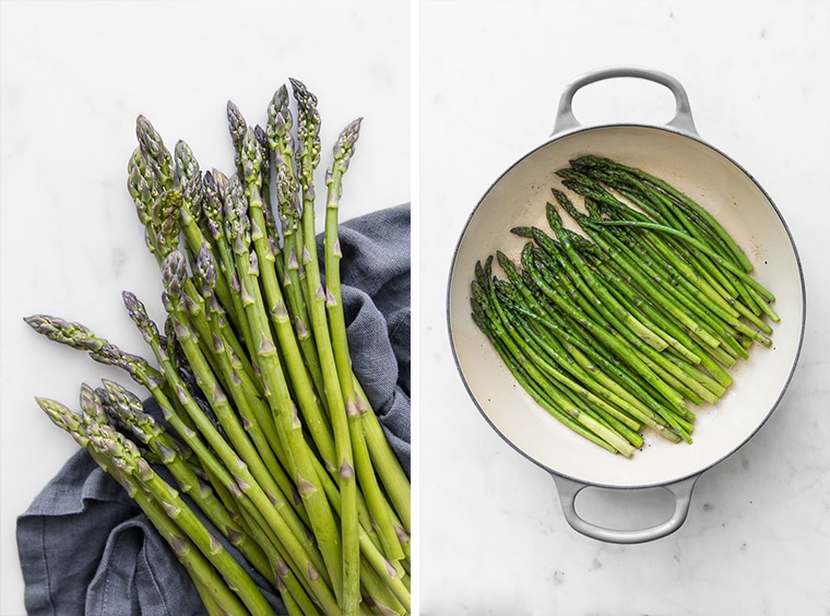 Fresh asparagus and sautéed asparagus in enamelled skillet