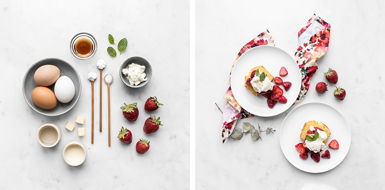 Flatlay Image of Ingredients for Strawberry Shortcake Cake and the Finished Dish