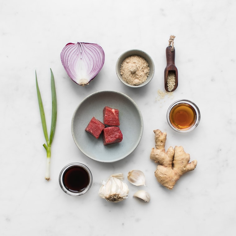 Ingredients flat lay for bbq beef kebabs