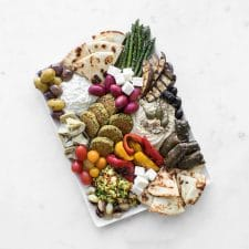 Mezze board styled with various foods