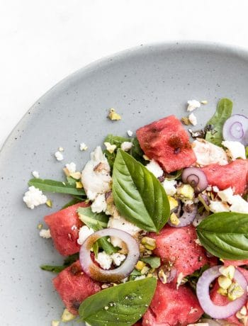 Close up of Chicken, Watermelon and Feta Salad with basil and pistachios