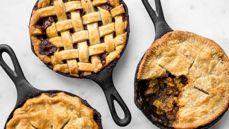 Three beef pot pies with plain and lattice crusts