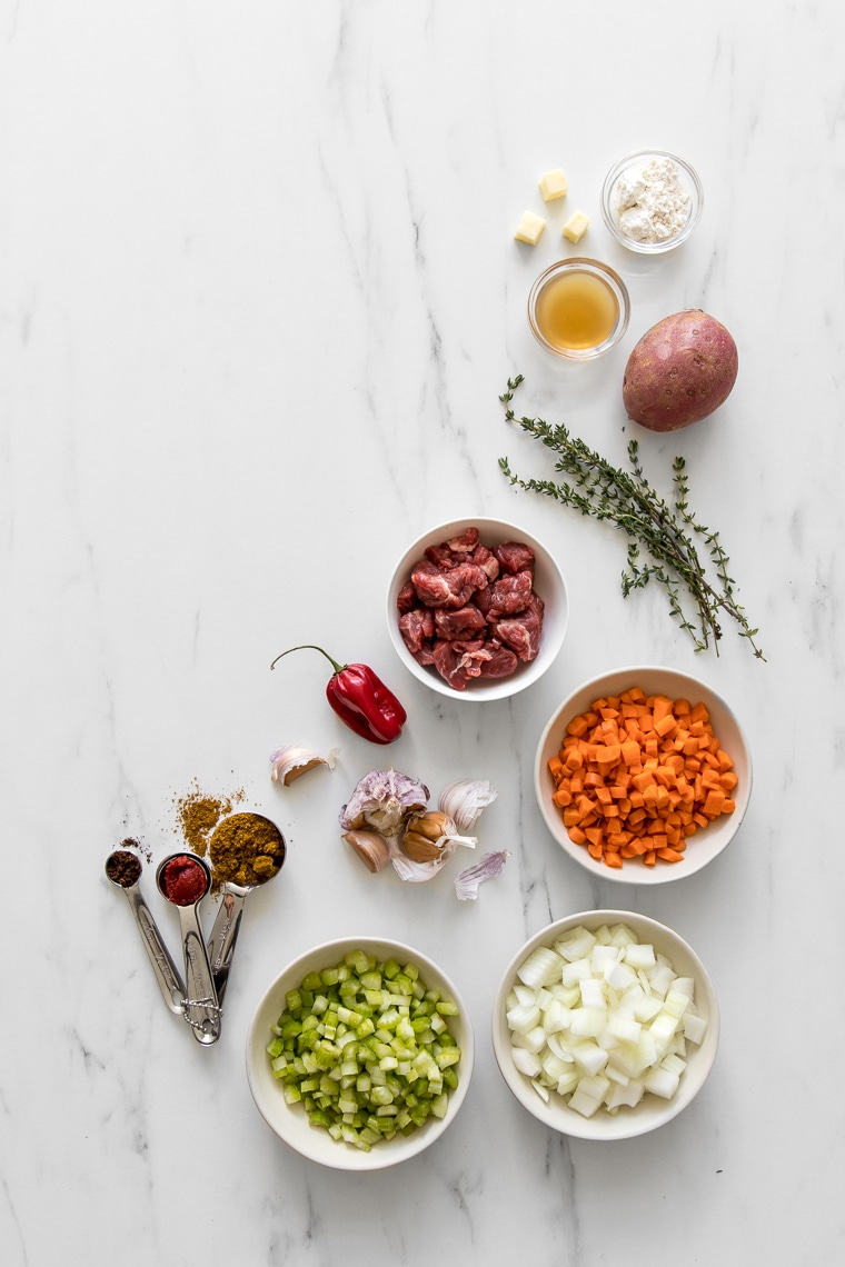 Ingredients for curry beef pot pie