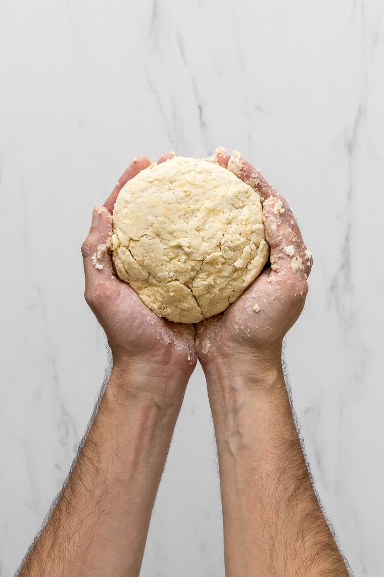 Hands holding a ball of pie dough