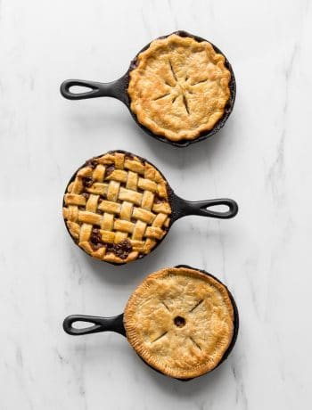 Three small skillet curry beef pot pies
