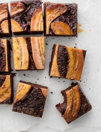 The upside down chocolate banana cake sliced into squares