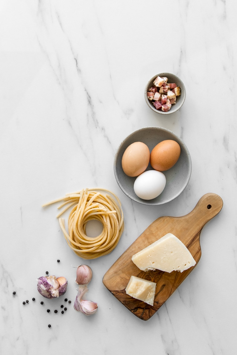 Ingredients for a classic spaghetti carbonara