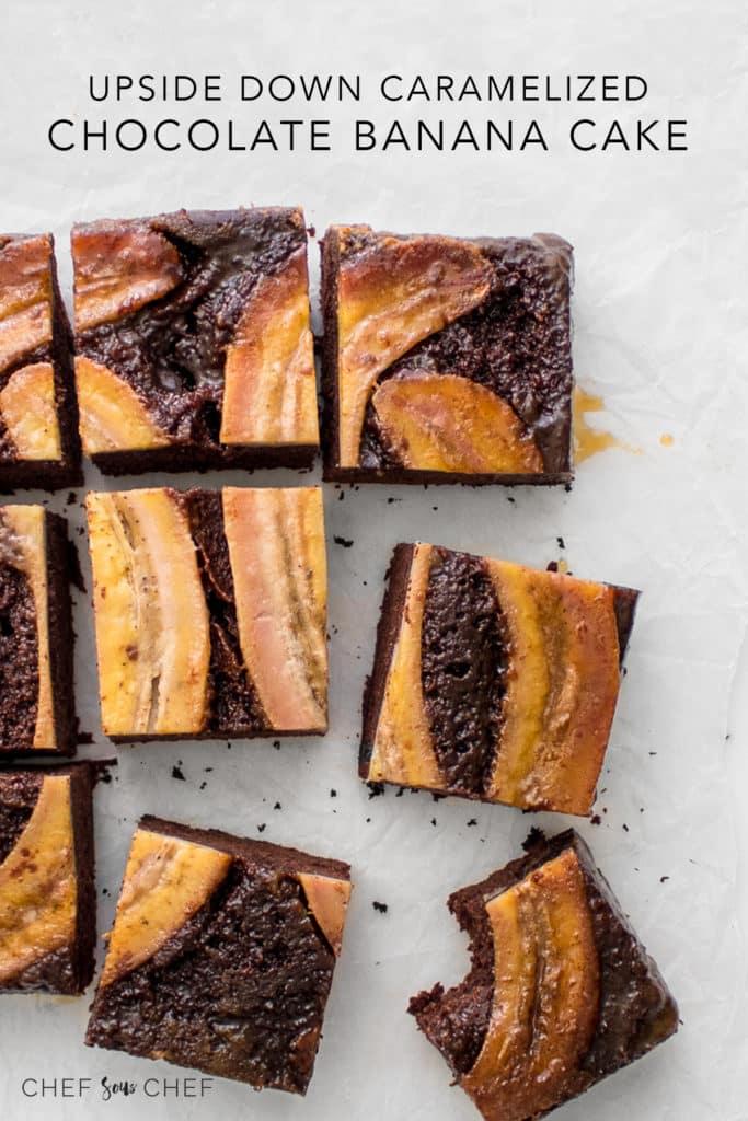 Chocolate Banana Cake Sliced into Square