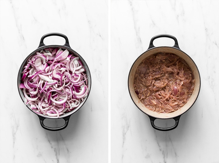 Red onions before and after caramelization
