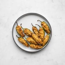 Plate filled with roasted jalapeno poppers
