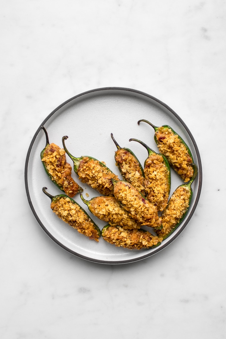 Plate of roasted jalapeno poppers