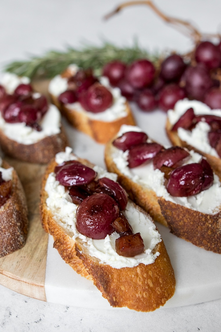 Close up of Grape and Goat Cheese Crostini