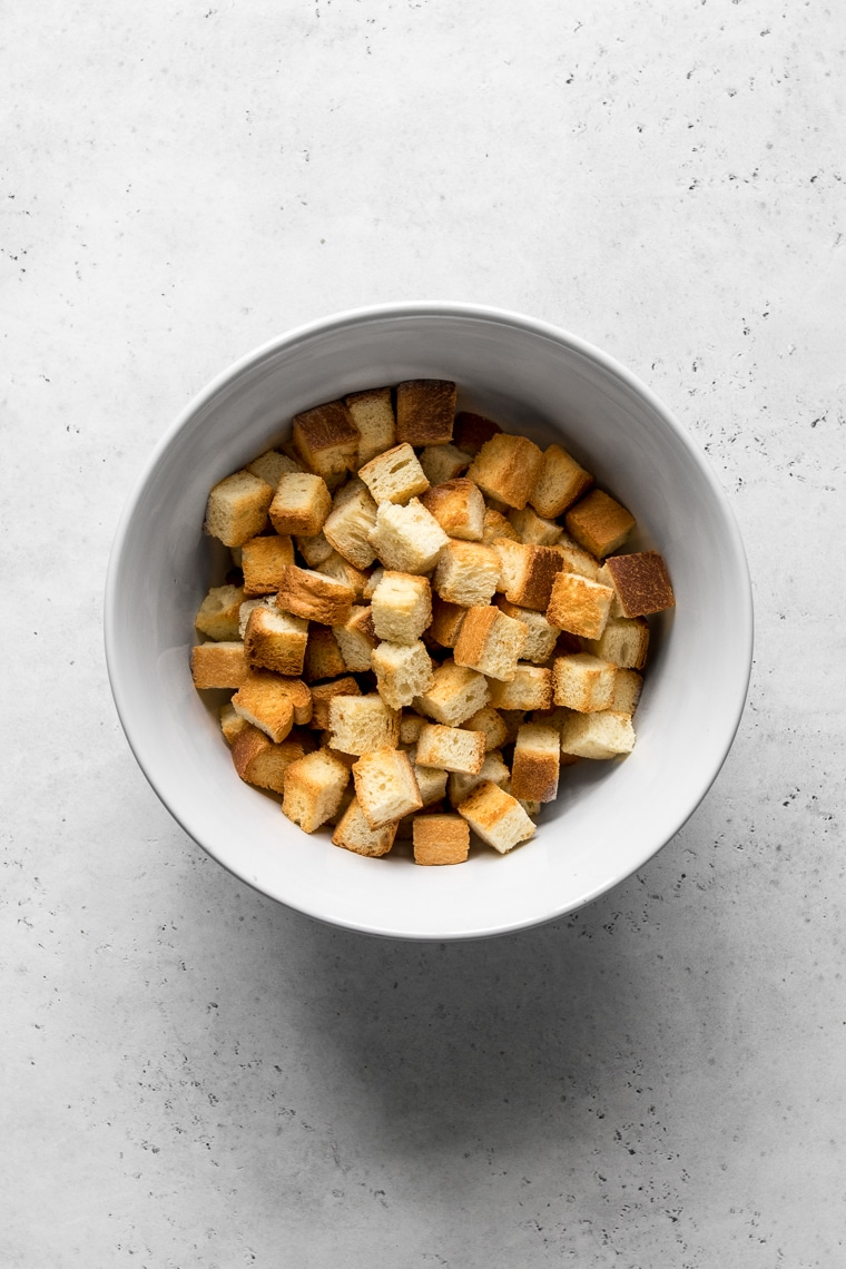 Bowl with toasted bread cubes