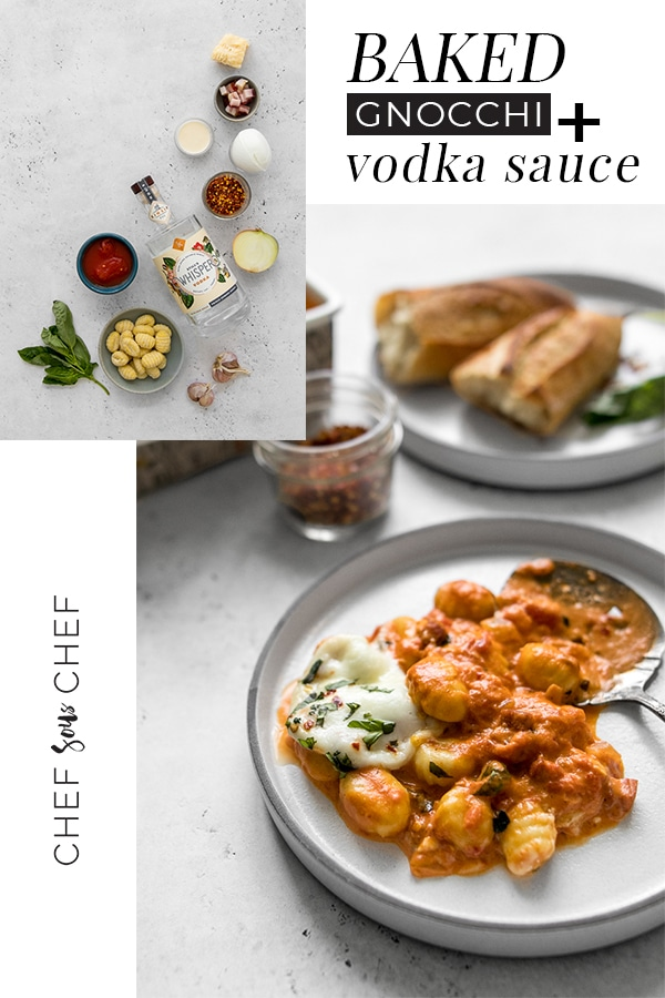 Baked Gnocchi with Vodka Sauce has become a favourite in our house. It's quick and simple to make, plus it's the most delicious pasta dish you can make - chefsouschef.com #pasta #gnocchi #comfortfood #foodphotography #chefsouschef