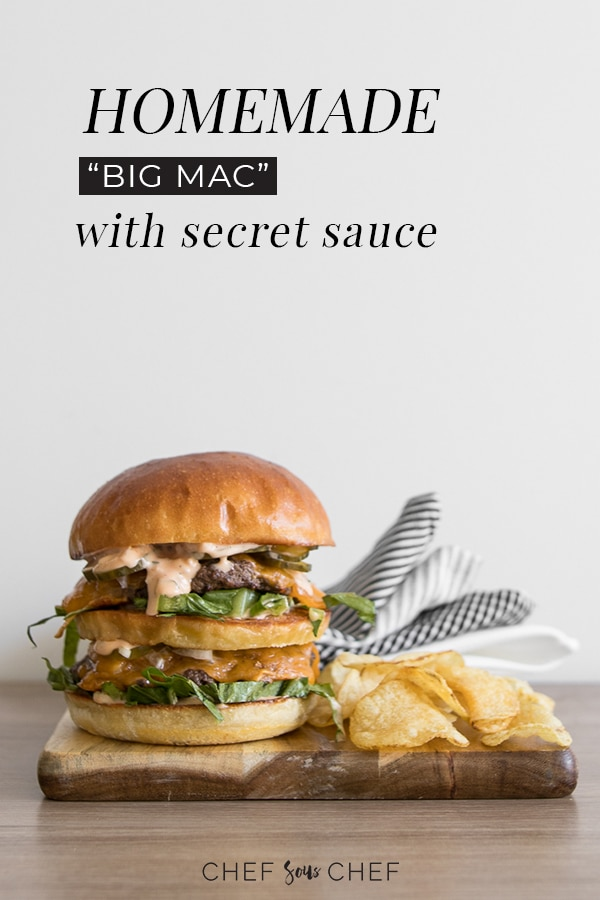 With all the elements of your favourite fast food burger, our Homemade Big Mac can be made in less than 30 minutes with just a few simple ingredients. - chefsouschef.com #bigmac #burger #fastfood #copycat #chefsouschef