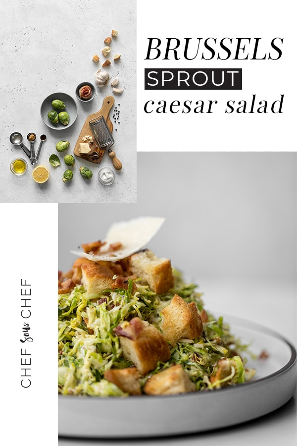 Brussels Sprout Caesar Salad - Thinly shaved Brussels sprouts have a flavour that complements the lemon, garlic, mayo and Parmigiano flavours of the caesar dressing. This is a great salad that can be made in less than 30 minutes for potlucks, holiday meals, or picnics / chefsouschef.com #caesarsalad #brusselssprouts #bacon #cheese #salad #easyrecipe #foodphotography #chefsouschef