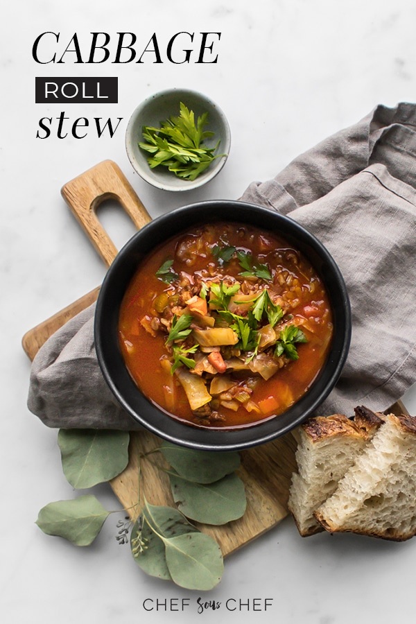 This Cabbage Roll Stew is the perfect accompaniment to any cold day. It's hearty and comforting with notes of sweet and sour that awaken your senses. The smoke and saltiness of the bacon are complemented by the sweetness of cabbage and tart of the cider vinegar. Brown rice ensures that this stew will keep you full for hours. - chefsouschef.com  #soup #stew #cabbagerolls #comfortfood #foodphotography #chefsouschef