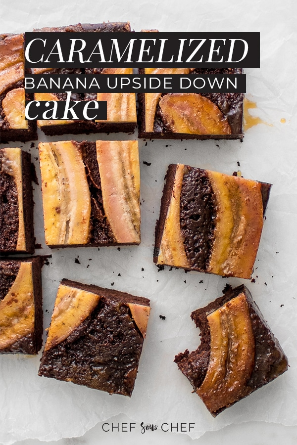 Chocolate Caramelized Banana Upside Down Cake Sliced in squares