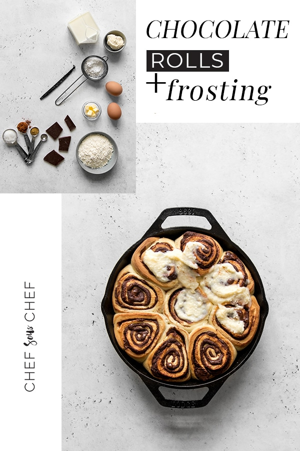 Sweet, chocolaty and creamy, our Chocolate Rolls with Cream Cheese Frosting have become a favourite in our home when having a quiet weekend morning or for sharing with family and friends over the holidays. / chefsouschef.com #chocolate #recipe #dessert #brunch #foodphotography #chefsouschef