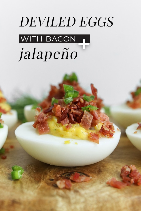 Our deviled eggs with bacon and jalapeño combined with mayonnaise adds to the tanginess of the yolk and when paired with the saltiness of bacon crumble, it's a dynamic duo no one can resists.- chefsouschef.com #recipe #appetizer #easyrecipe #potluck #eggs #foodphotography #chefsouschef