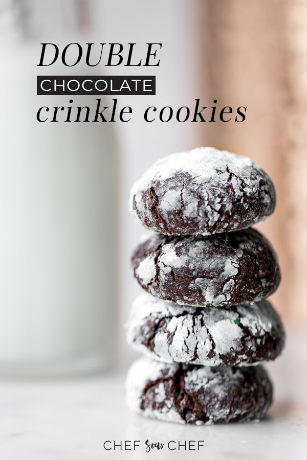 If you're looking for the best Christmas cookie recipe, look no further than our Double Chocolate Crinkle Cookies with Candy Cane - chefsouschef.com #cookies #chocolate #holidaycookies #foodphotography #chefsouschef