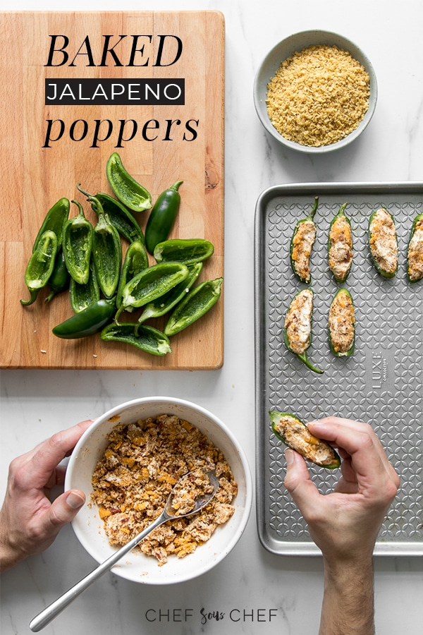 A crowd favourite at any pub, potluck, game day, or holiday gathering, our Roasted Jalapeño Poppers are the perfect mix of spicy, creamy, tangy and crunchy made possible by using a goat cheese base and ground nacho topping - chefsouschef.com #snack #appetizer #jalapeno #comfortfood #foodphotography #chefsouschef