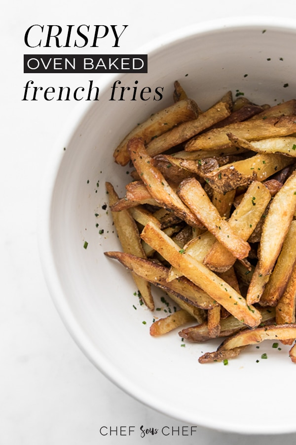 A bowl of oven baked fries with text