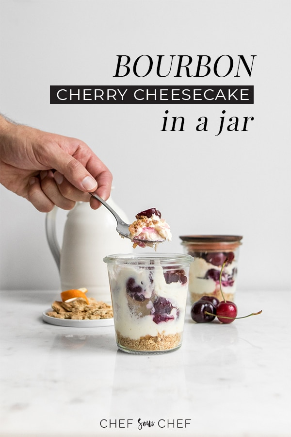 What's better than cherry cheesecake? How about Bourbon Cherry Cheesecake in a Jar! This cheesecake recipe is so simple, so sweet, a little boozy, and incredibly delicious. It's the perfect dessert to take on a picnic, to a backyard bbq, or birthday party. - chefsouschef.com #dessert #cherries #sweets #dessertinajar #foodphotography #mascarpone #chefsouschef