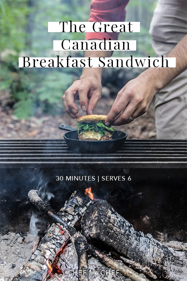 Smoked from the open fire and sandwiched between bannock, our Canadian Breakfast Sandwich is made with Canadian pork, eggs and melty Avonlea Cheddar Cheese. - chefsouschef.com #camping #alfresco #breakfastsandwich #chefsouschef
