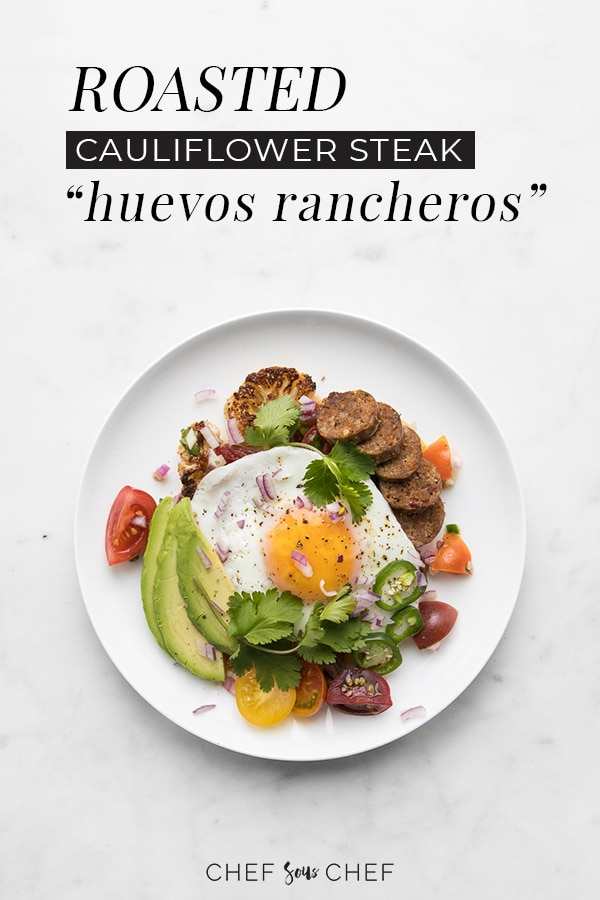 A delectable twist on the Mexican breakfast dish, our Roasted Cauliflower Steak Huevos Rancheros swaps out thetraditional tortilla and subs in spicy chorizo, avocado and jalapeño in addition to the classic over easy egg yolks.#whole30 #newyear #paleo #cleaneating #wellnessrecipes #cauliflower #chefsouschef
