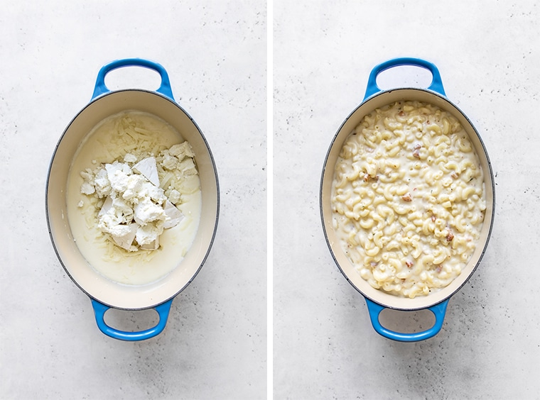 Two images of blue oval french oven. One with cheese in roux, the other with macaroni and cheese