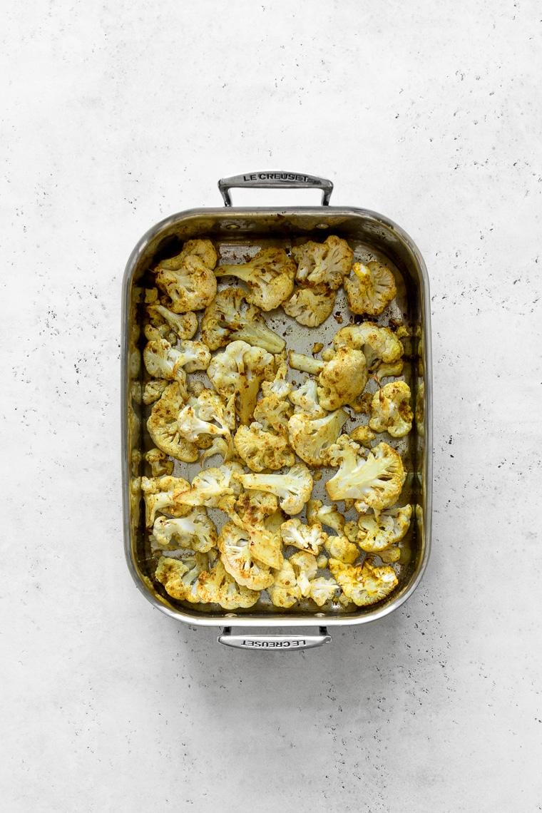 Roasting pan of curry roasted cauliflower