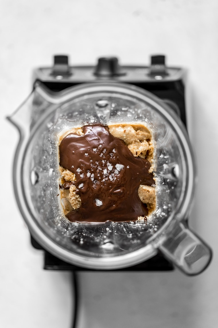 Chocolate and nut butter in a blender