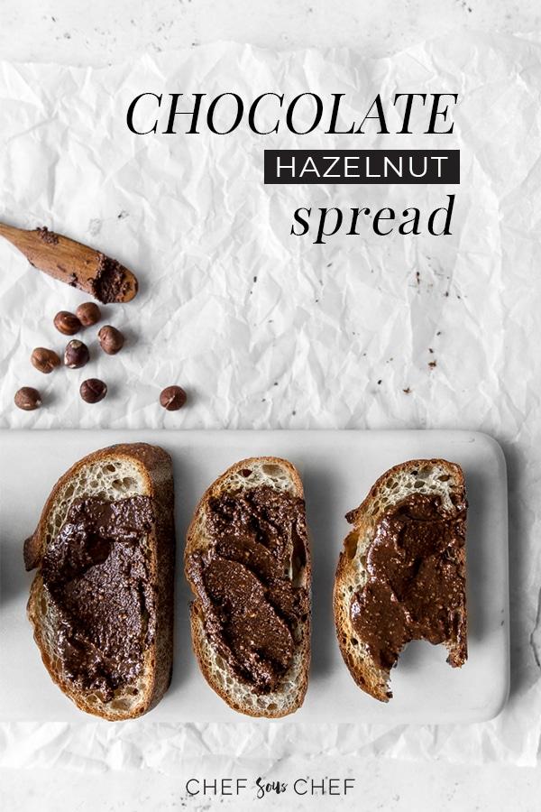 Made with just a handful of ingredients, our homemade chocolate hazelnut spread is super easy to make plus is creamy, healthy, and sweet. It will remind you of that first bite into a Fererro Rocher. - chefsouschef.com #nutella #chocolatenutbutter #homemadenutella #foodphotography #chefsouschef