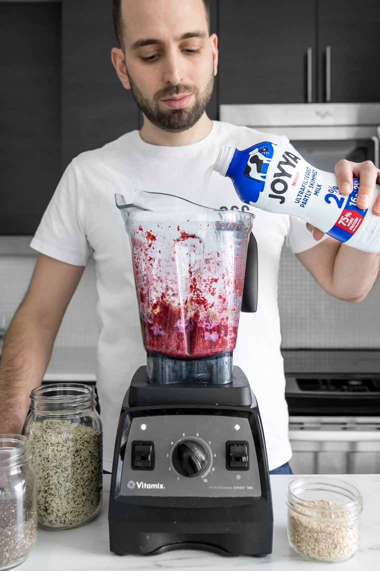 Pouring Joyya Ultrafiltered Milk Into a Blender