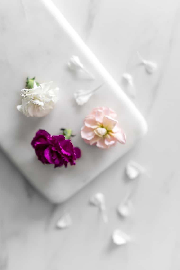 Edible Flowers on a Marble Board