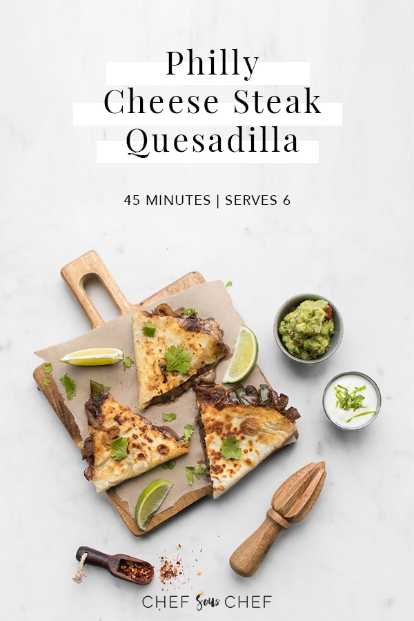 Philly Cheese Steak Quesadilla Image with Title