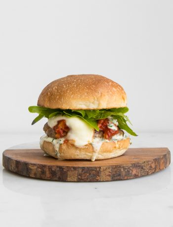 Burger with Tomato Sauce and Cheese