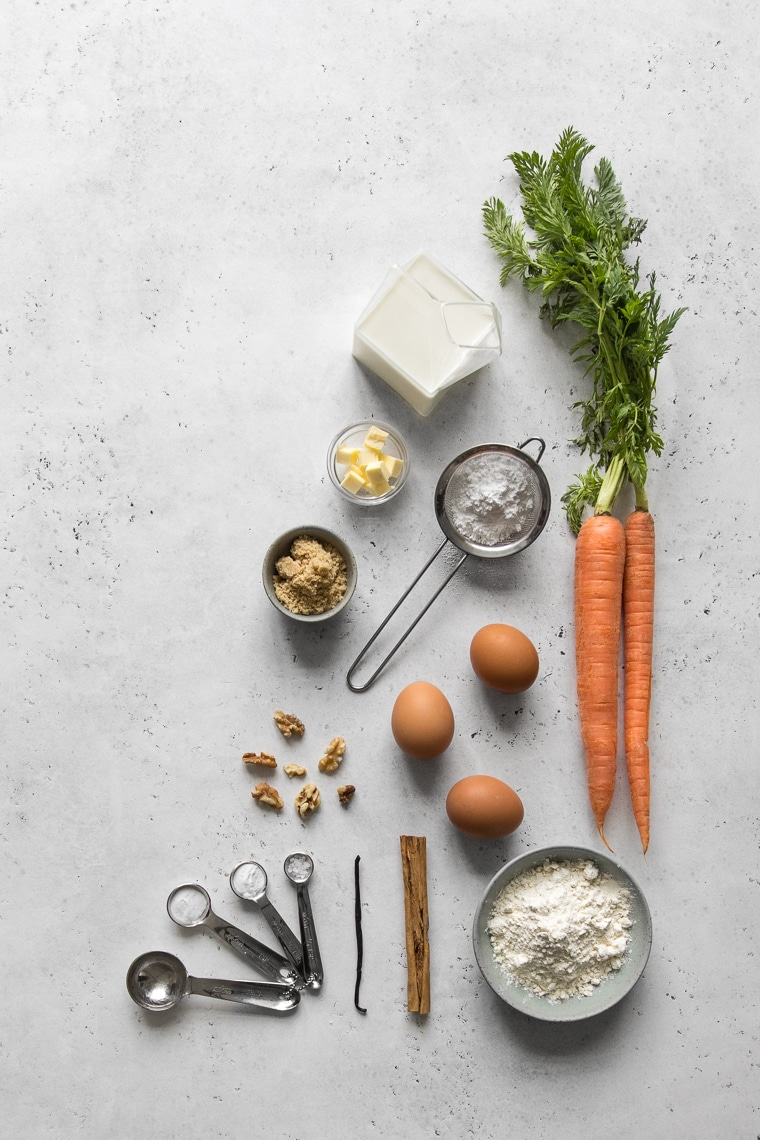 Ingredients to make carrot cake muffins