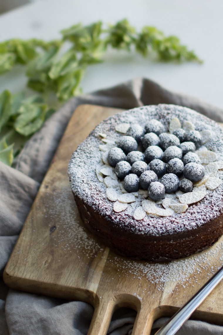 Gluten Free Cake with Slivered Almonds, Blueberries and Icing Sugar