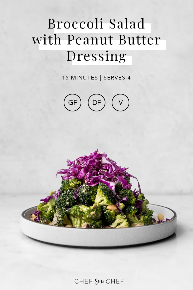 Broccoli Salad with Red Cabbage on a Plate with Recipe Title and Information