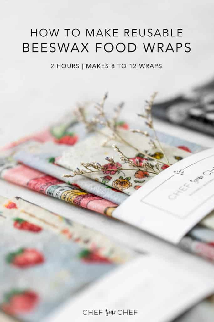 3 packs of DIY Beeswax Wraps with Text: How to Make Reusable Beeswax Food Wraps