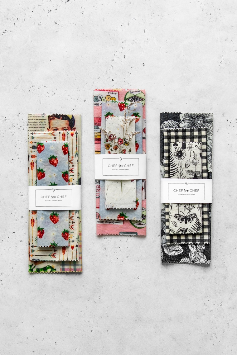 Three sets of reusable food wraps with various patterns