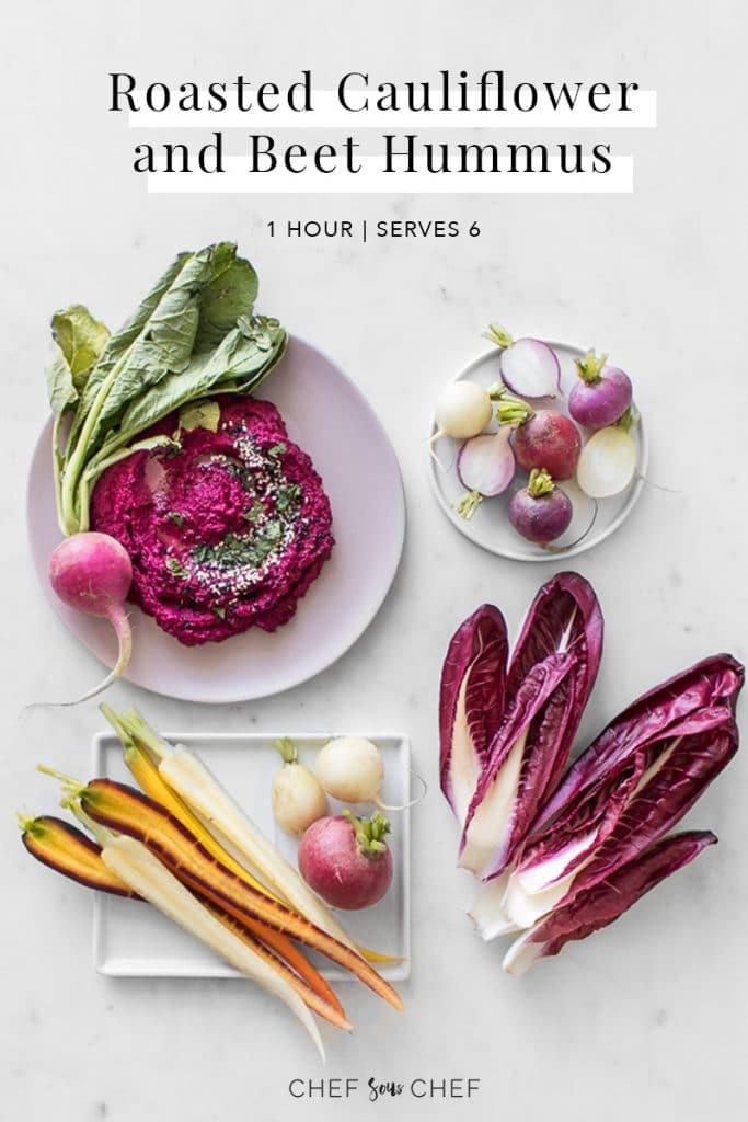 Roasted Cauliflower and Beet Hummus Pinterest Image