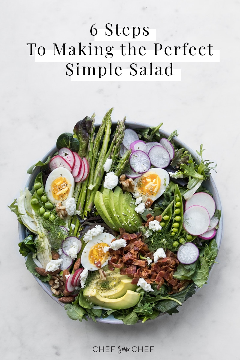 Plate of vibrant salad with text: six steps to making the perfect simple salad