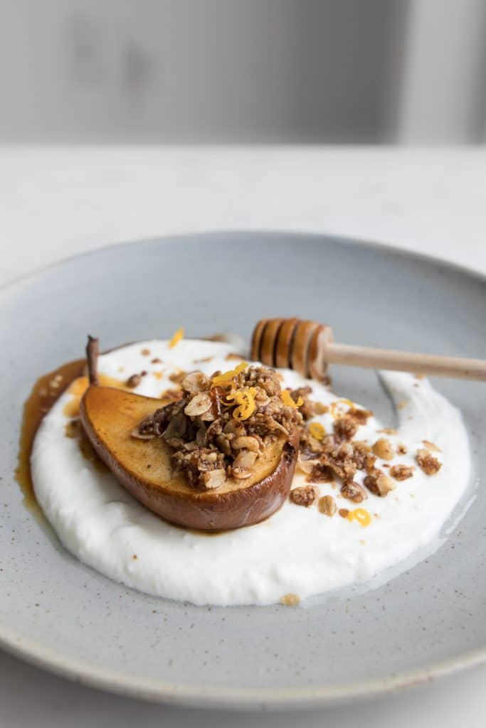Honey Roasted Pear on Yogurt