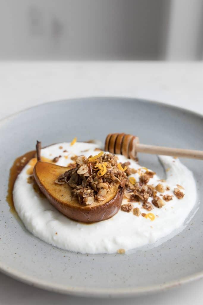 Honey Roasted Pear on Yogurt