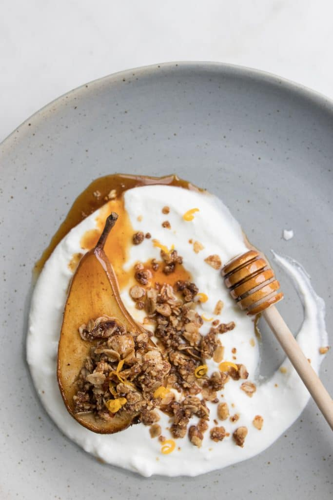 Honey Roasted Pear on Yogurt with Walnut Streusel