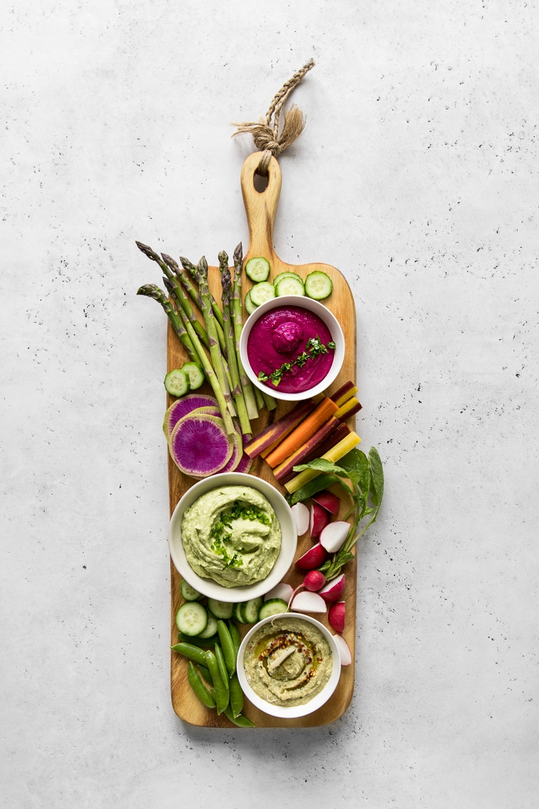 Long Crudites Board with White Bean Dip 3 ways and Raw Vegetables